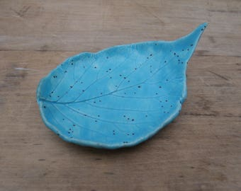 Aqua Leaf Spoon Rest- Handmade, Ceramic