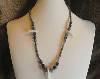 Amethyst Hemp Necklace - All Natural Beads on Grey Hemp - Lava Stone Necklace - Custom Hemp Jewelry - Hematite Jewelry - Genuine Fang Charms