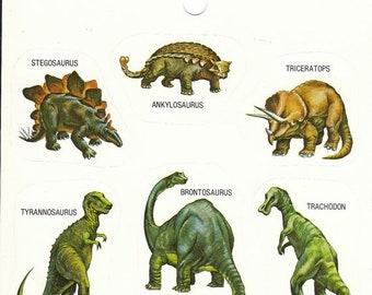 SALE Rare Vintage Eureka Dinosaur Sticker Sheet - 80's Illustration Triceratops Brontosaurus Tyrannosaurus Rex Stegosaurus
