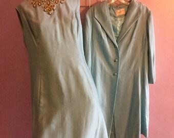 Sky Blue 1960s 2 Piece Dress Jacket Suit Set