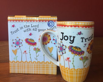 Soy Candle in Burton and Burton Joy Ceramic Scripture Mug Hand Poured & Highly Scented Eco Friendly, Clean, Long Burning, You Choose Scent