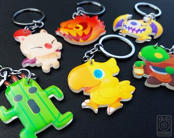Final Fantasy Keychains // Acrylic // Mascots // Chocobo // Moogle // Tonberry // Cactuar // Bomb // Ahriman // Gamer Gifts