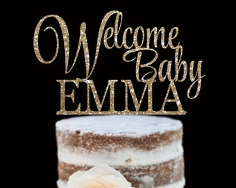 Baby Shower Cake Topper, New Baby, Newborn, Welcome Home, Glitter Cake Topper - Personalized