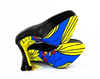High Heel Shoes - Blue Bottom Shoes With Pop art Design -Hand Painted Heels - Black Platform Pumps - Custom heels - High Heels