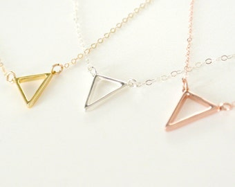 Tiny Triangle Necklace, Silver, Floating Triangle Necklace, Gold, Rose Gold Fill Triangle Outline Necklace, Layered Jewelry, Everyday Wear