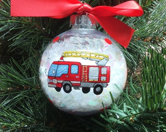 Personalized Hand Painted Fire Truck Christmas Ornament