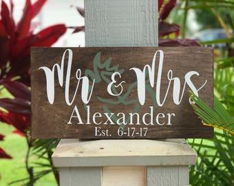 mr and mrs | family established sign | custom family sign | buck and doe sign | buck and doe | personalized family sign | wedding gift