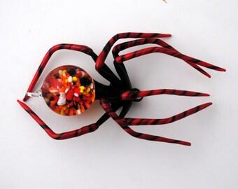 Medium Red Spider with Flower in abdomen
