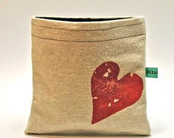 Reusable Snack Bag - Reusable Sandwich Bag - Hand Printed Rustic Heart