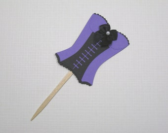 10 Purple Black Corset Cupcake Toppers - Food Picks - Bridal Shower Favors - Lingerie Shower - Girls Night Out - Bachelorette Party