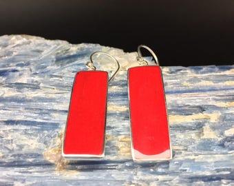 Long Red Shell Earrings // 925 Sterling Silver // Hypoallergenic // Rectangular Setting // Hook Backing