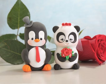 Unique wedding cake toppers Panda, Penguin - funny red bride and groom figurines wedding personalized elegant black white burgundy