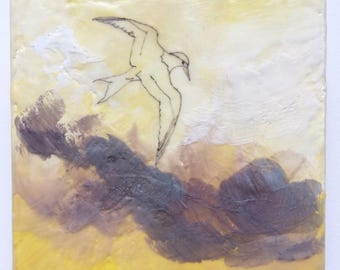 Encaustic art mixed media, bird painting, up in the clouds, seagull painting