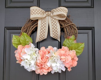 Spring/Summer White and Coral Hydrangea Wreath with Burlap Polka Dot Bow | All Season Wreath | Front Door Wreath | Mother's Day
