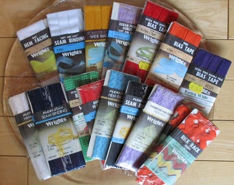 Sewing Supplies - Wrights 19 Packages, Bias Tapes, Hem Facing, Flexi-Lace Seam Binding, Jumbo Rick Rack, Assortment of Colors