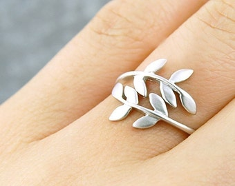 Willow Leaf Wrapped Around Your Finger Adjustable Ring