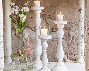 3 x Shabby Chic Spindle Candle Holders- set of 3, Wedding Venue Decor, Home Decor, Gift, Cafe Decor