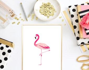 Flamingo Print - Flamingo Art - Watercolor Flamingo Print