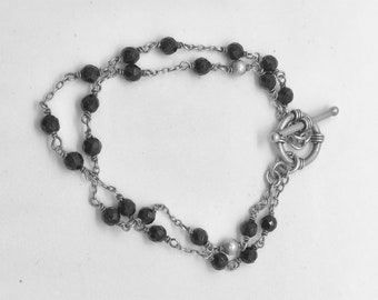 bracelet; black crystal beads and sterling silver toggle