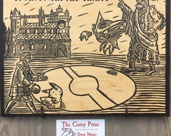 Childe Roland to the Gym Battle Came - Hand Pressed Medieval Pokemon Woodcut Panel