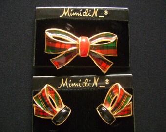 Vintage Princess Mimi di Niscemi Mimi Di N Christmas Bow Ribbon Earrings Brooch Pin Set Gold Scottish Motifs Red Black Green Colors Enamel