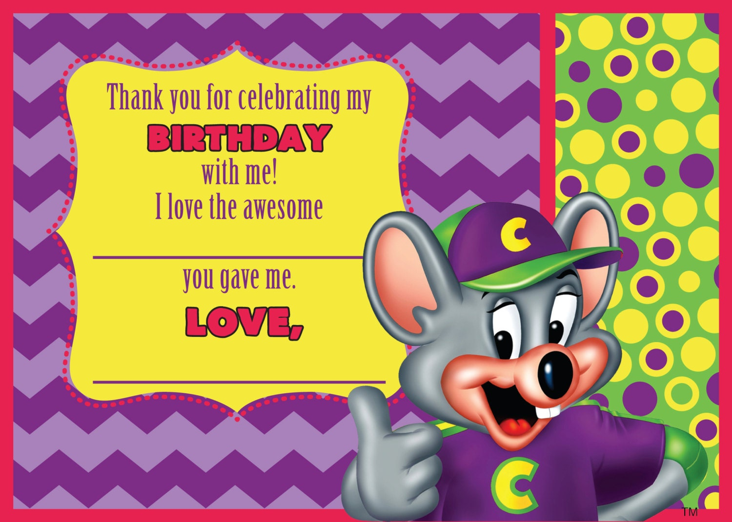 Chuck e cheese thank you card zoom kristyandbryce Image collections