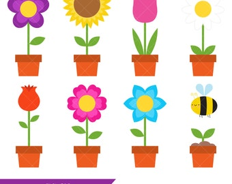 spring clip art colorful spring icons badges instant