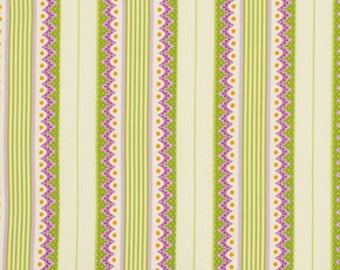 1 Yard Gorgeous HEATHER BAILEY Fabric Lottie Da - COLLECTION Carousel Stripe in Orchid