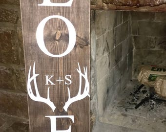 Personalized LOVE deer antler wood sign