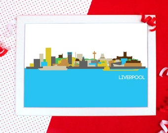 Cityscapes Print - Liverpool Print - Liverpool Skyline Wall Art - Graphic Print of Liverpool - Holiday Souvenir