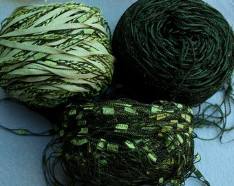 Forest Green Trellis Ladder and Multi Fiber Yarns 50g balls from L'Atelier called Gillian, Sugar Plums and Bianca