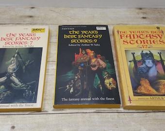 The Years Best Fantasy Stories, set of 3, 1980s, vintage sci fi, vintage fantasy, book set