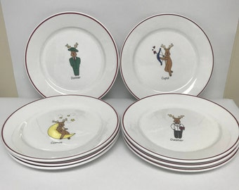Set Of Eight Rainbow Mountain Santa s Reindeer Salad Plates  sc 1 st  Etsy & Reindeer plates | Etsy