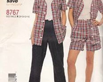 OUT OF PRINT McCall's Pattern 8767 Misses' Top, Pull-on Pants or Shorts