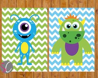 Monster Wall Art Decor Nursery Childs Boys Room Green Blue Wall Decor Set of 2  DIY Printable 5x7 Digital JPG Files  Instant Download (59)