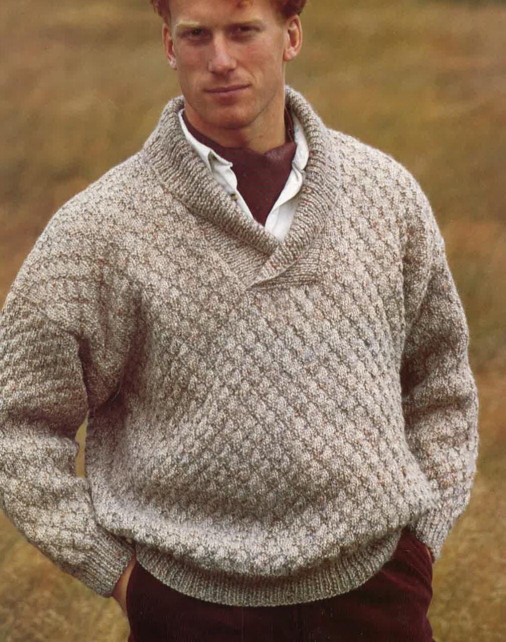 Knitting Pattern Mens Sweater Jumper Size 34in 44in PDF