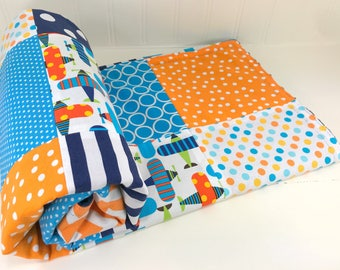 Baby Quilt, Baby Blanket, Baby Gift, Nursery Decor, Minky Baby Blanket, Navy, Turquoise, Teal, Orange, White, Plane, Airplane, Baby Boy