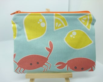 Handmade coin purse, change purse, wallet, mini make up bag, card holder, crabs, lemons, seafood, sea, stripes,