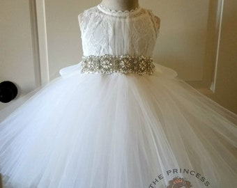 Off white flower girl dress with rhinestone sash, off white girls dress, off white lace dress, rhinestone sash, girls dress, vintage wedding