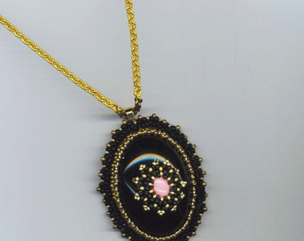Beadwoven Pendant in Black, Gold, Rose/Pink . Beaded Cabochon - Royal Flower by enchantedbeads on Etsy