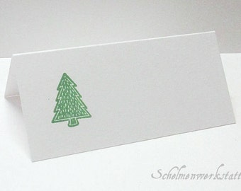 Christmas table card with stamped fir tree (6 pcs)