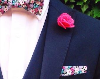 Pink felt flower lapel pin | pink Boutonniere | wedding pink Boutonniere alternative
