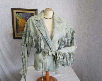 80s M Lamb Nubuck Suede Leather Fringed Wrap Jacket Acid Wash Blue