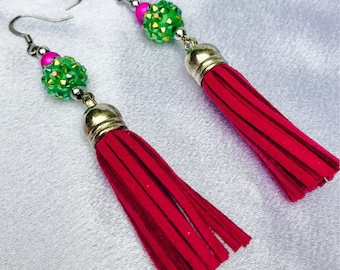 Neon Pink And Neon Green Tassel Earrings / Preppy Pink and Green Tassel Earrings /
