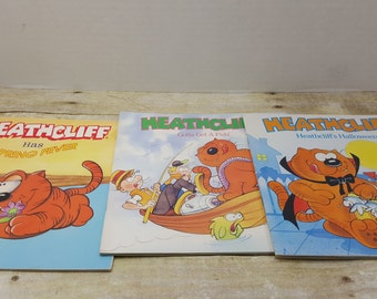 Heathcliff Books, set of three, 1980s, vintage kids book, sunday funnies, comics