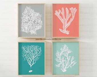 Bathroom Decor, Coastal Wall Art, Sea Coral Prints, Ocean Beach Prints Sea Coral Prints, Coral Illustrations, Sea Coral, Teal Coral Gray
