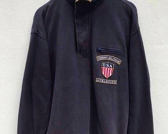 Tommy Hilfiger Pullover Vintage 1990s Tommy Hilfiger Athletics Sweatshirt Sailing Gear Hip Hop Tommy Hilfiger Big Logo Sweater sz L