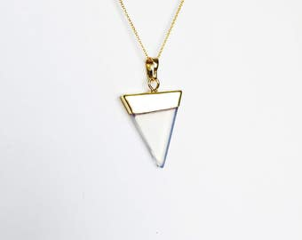 Moonstone gold dipped triangle pendant gold chain necklace