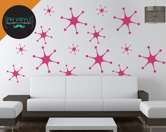 Retro Starburst Vinyl Wall Decals Set of 15  - SHA018