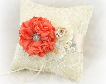 Coral and Champagne Ring Bearer Pillow Vintage Style with Lace